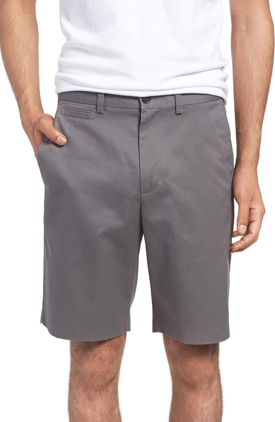Smartcare<sup>™</sup> Flat Front Shorts,                         Main,                         color, Grey Tornado