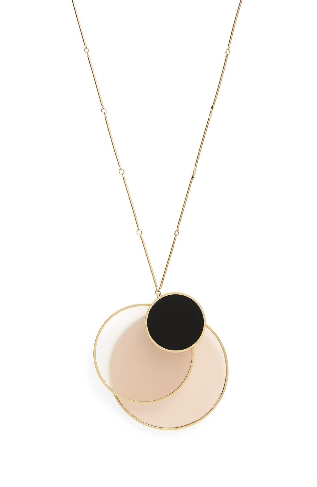 Circle Cluster Pendant Necklace,                         Main,                         color, Black/ Gold
