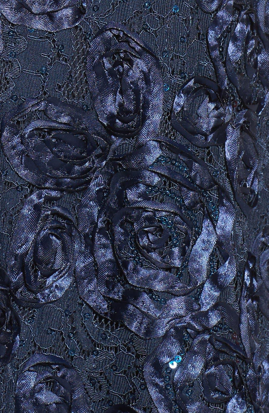 Tea Length Jersey & Rosette Lace Dress,                             Alternate thumbnail 6, color,                             Navy
