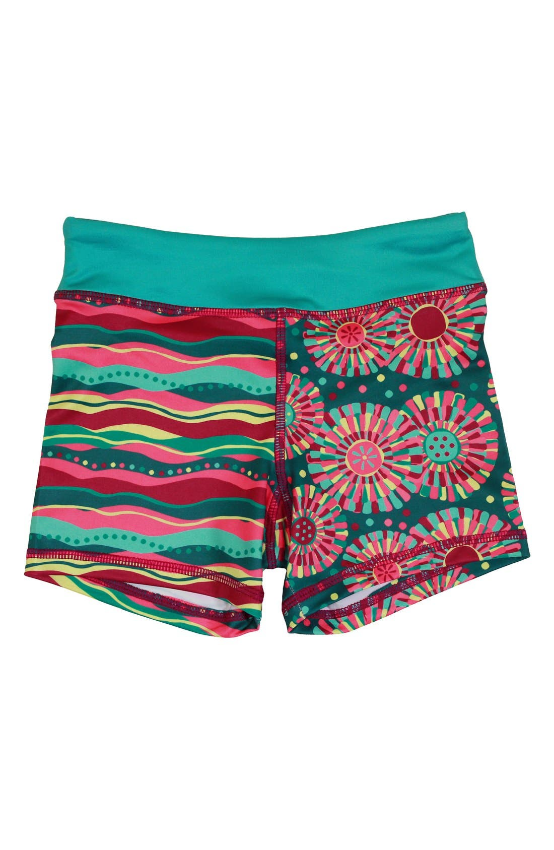 'Splits' Mixed Print Shorts,                             Main thumbnail 1, color,                             Gleam