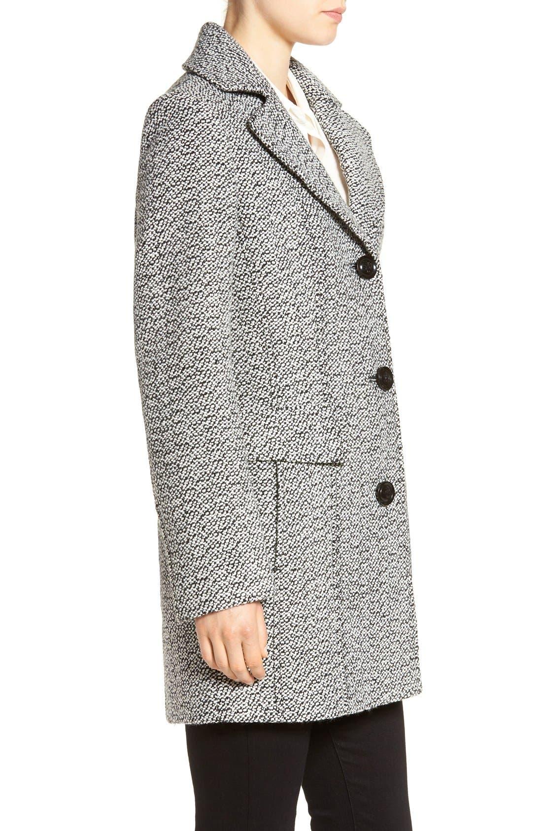 Notch Collar Tweed Coat,                             Alternate thumbnail 3, color,                             White/ Black