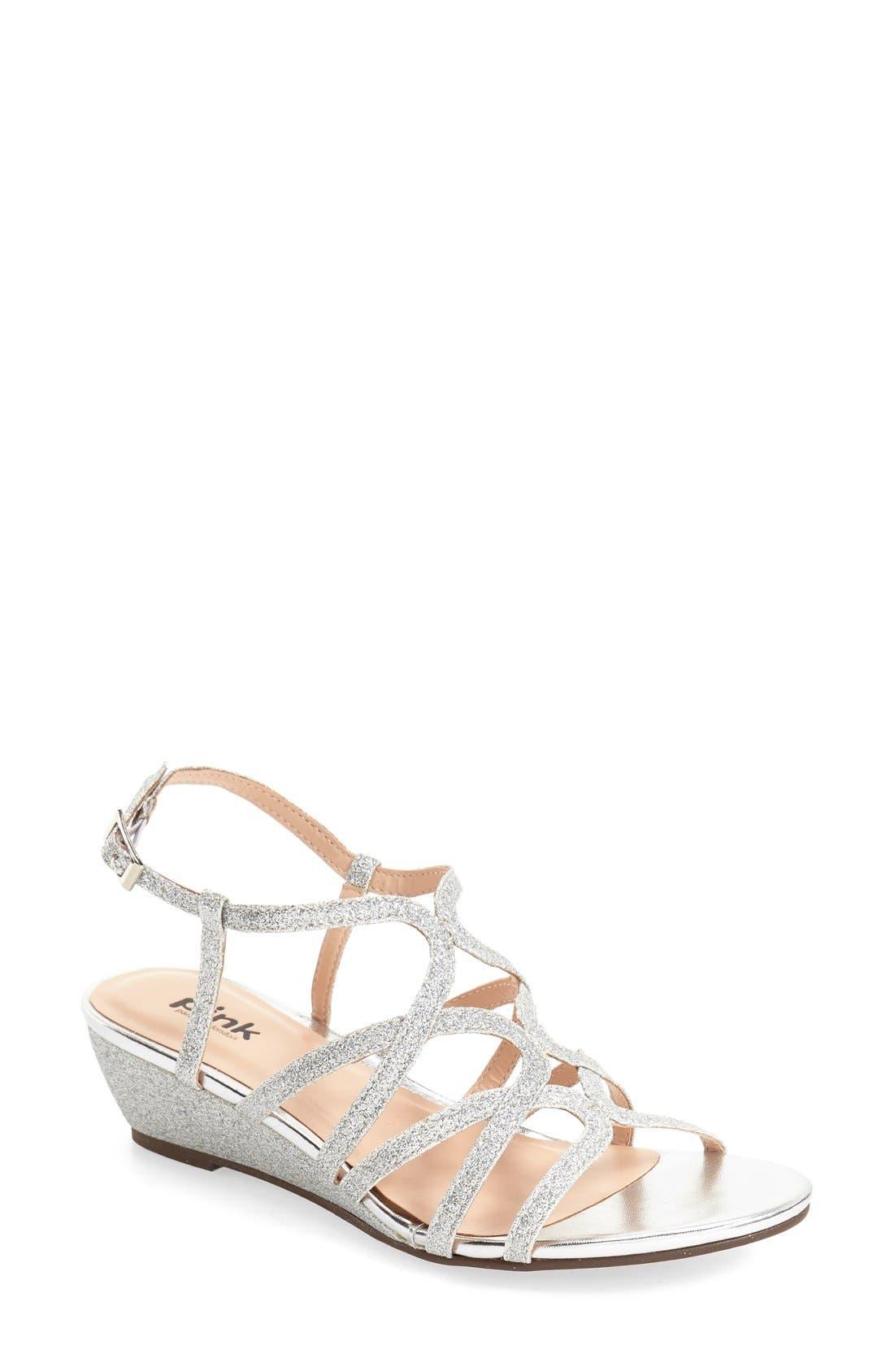'Opulent' Wedge Sandal,                             Main thumbnail 1, color,                             Silver