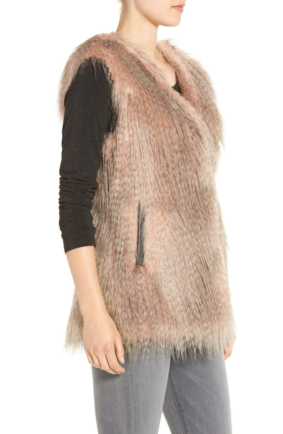 Collarless Faux Fur Vest,                             Alternate thumbnail 3, color,                             Pink Multi