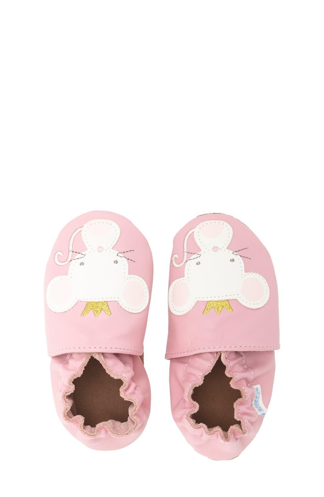 'Princess' Crib Shoe,                             Alternate thumbnail 3, color,                             Prism Pink Leather