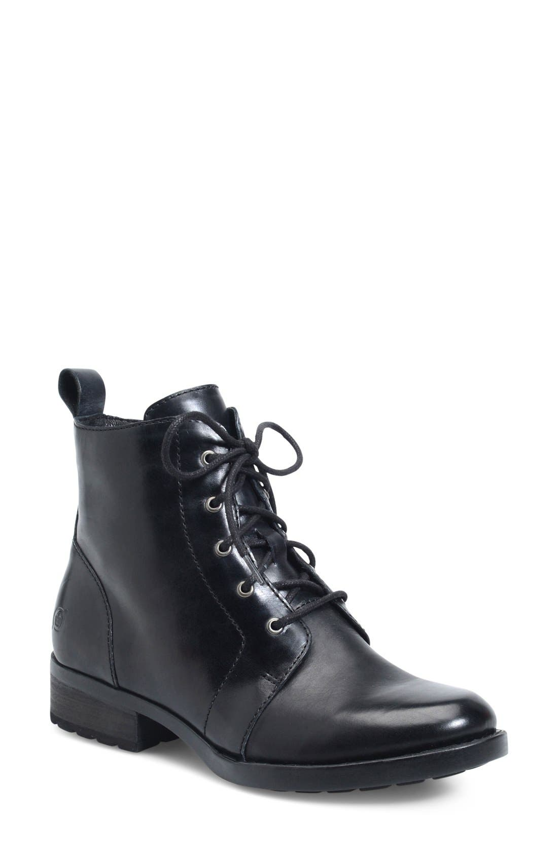 Troye Vintage Lace-Up Boot,                             Main thumbnail 1, color,                             Black Leather