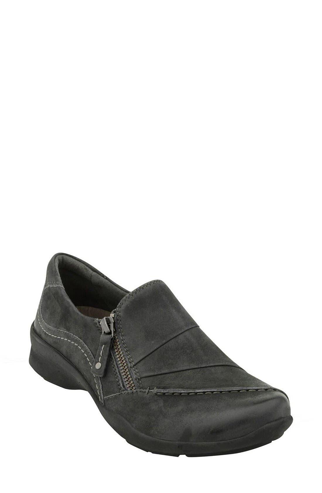 'Anise' Slip-On Sneaker,                             Main thumbnail 1, color,                             Dark Grey Nubuck Leather