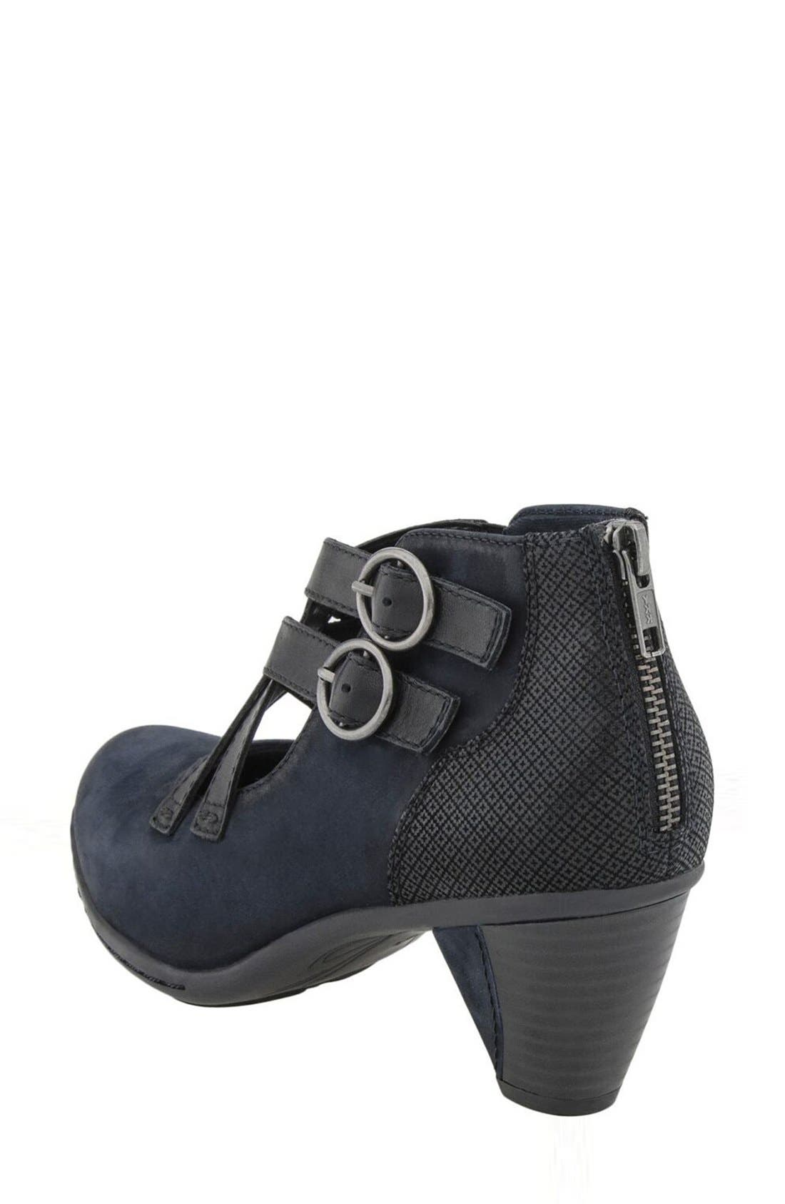 'Amber' Buckle Bootie,                             Alternate thumbnail 2, color,                             Navy Nubuck Leather
