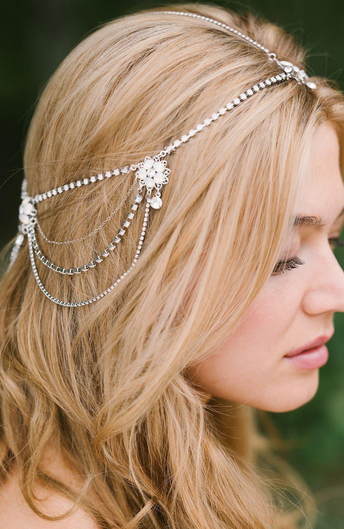 SARA GABRIEL Madeline Floral Crystal Hair Chain
