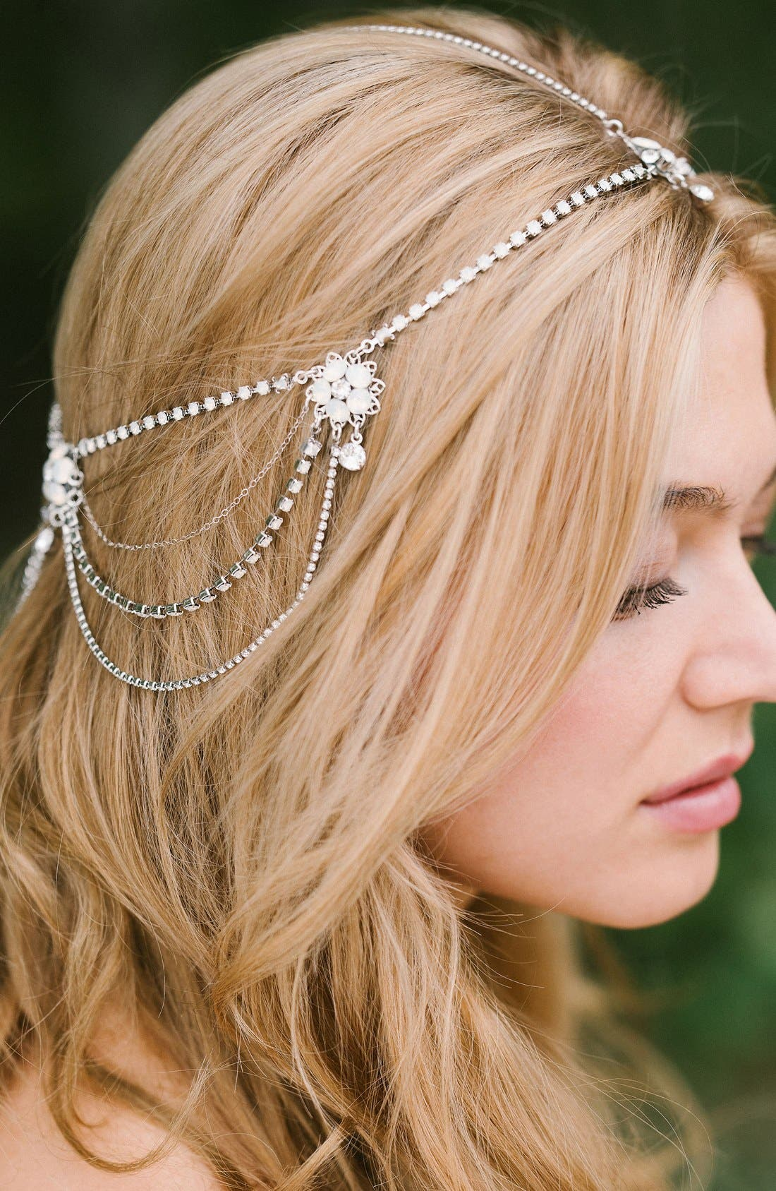 'Madeline' Floral Crystal Hair Chain,                         Main,                         color, Crystal/ White Opal