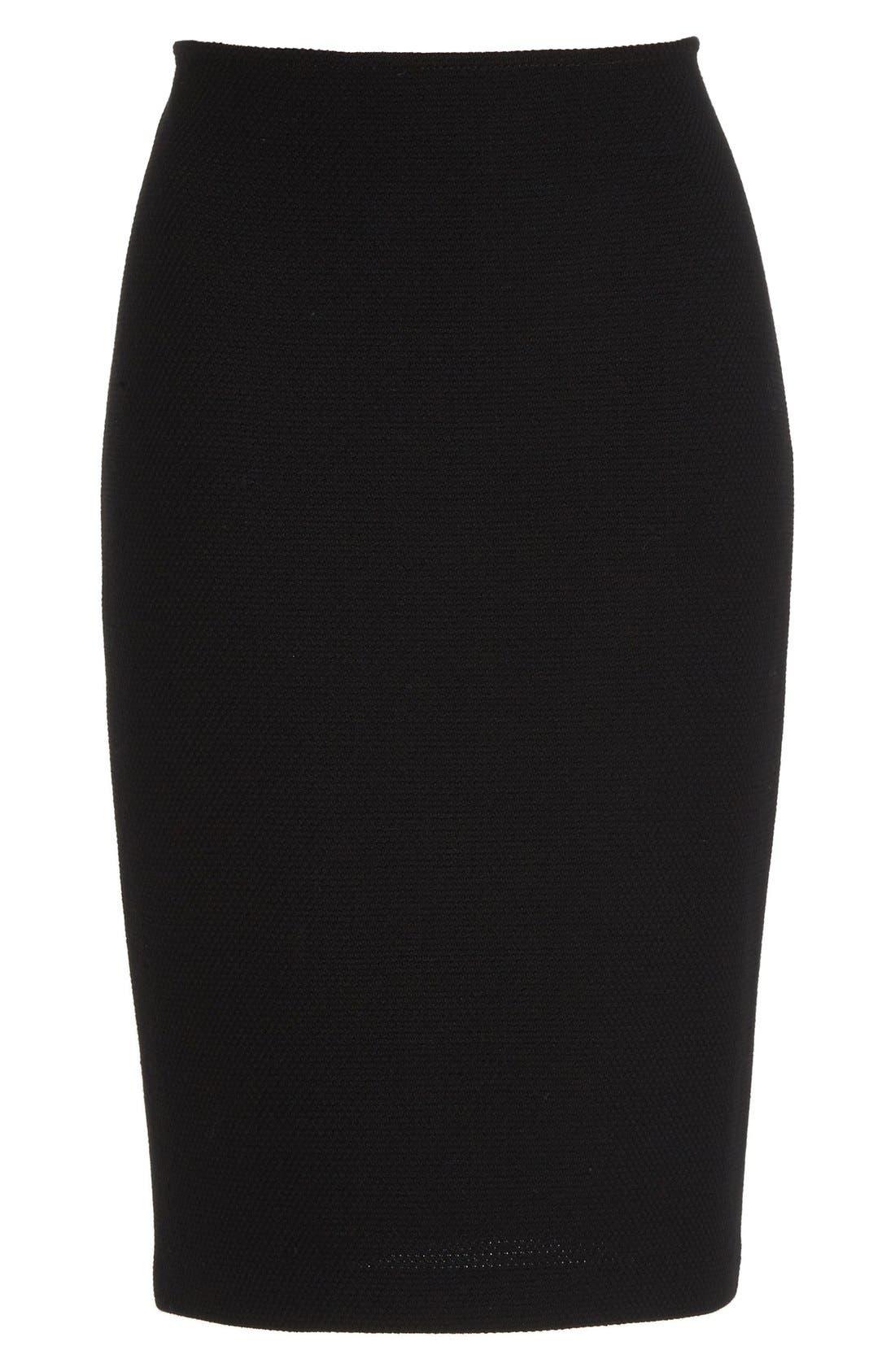 Micro Bouclé Pencil Skirt,                             Alternate thumbnail 4, color,                             Caviar