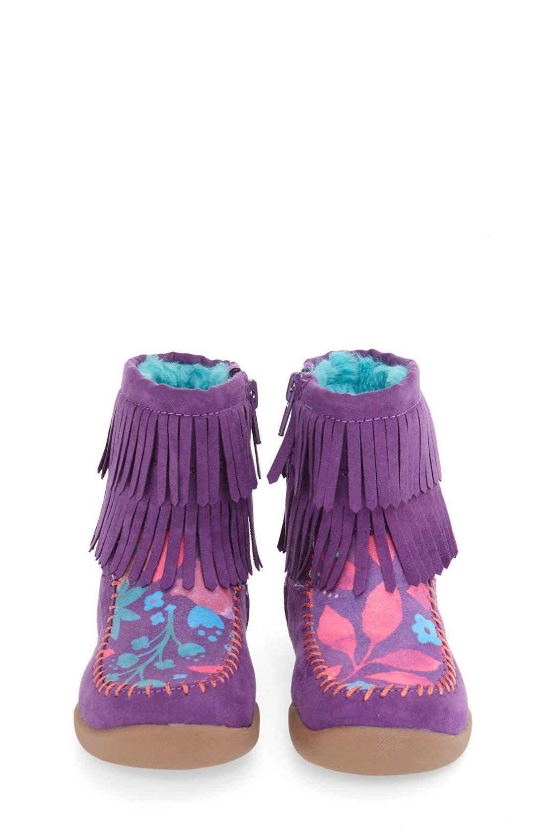 Fringe Bootie,                             Alternate thumbnail 3, color,                             Purple Faux Leather