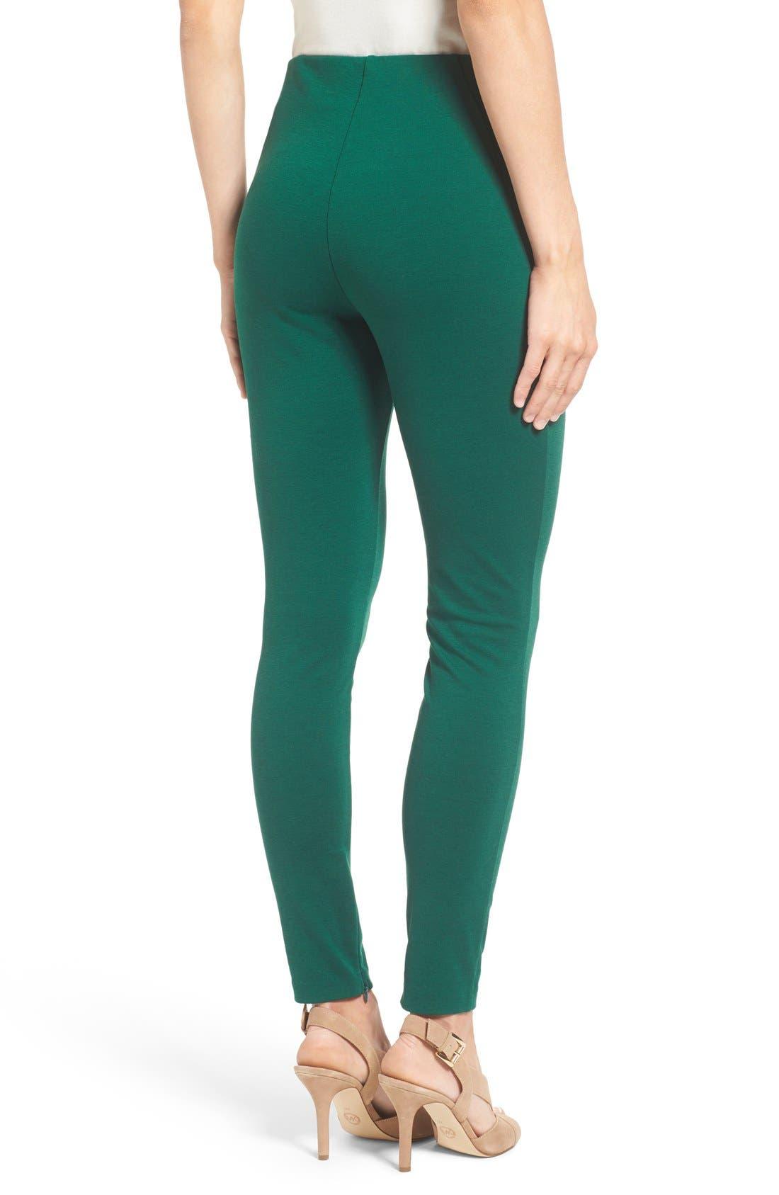 Ponte Knit Leggings,                             Alternate thumbnail 2, color,                             Deep Emerald