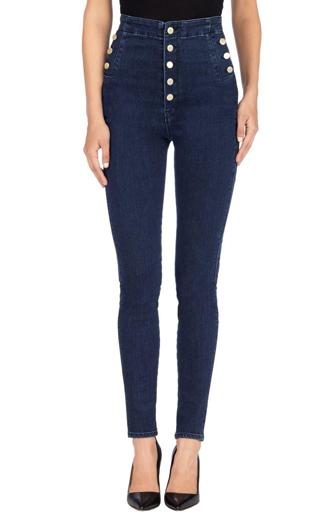 Main Image - J Brand 'Natasha Sky High' High Rise Skinny Jeans (Allegiance)