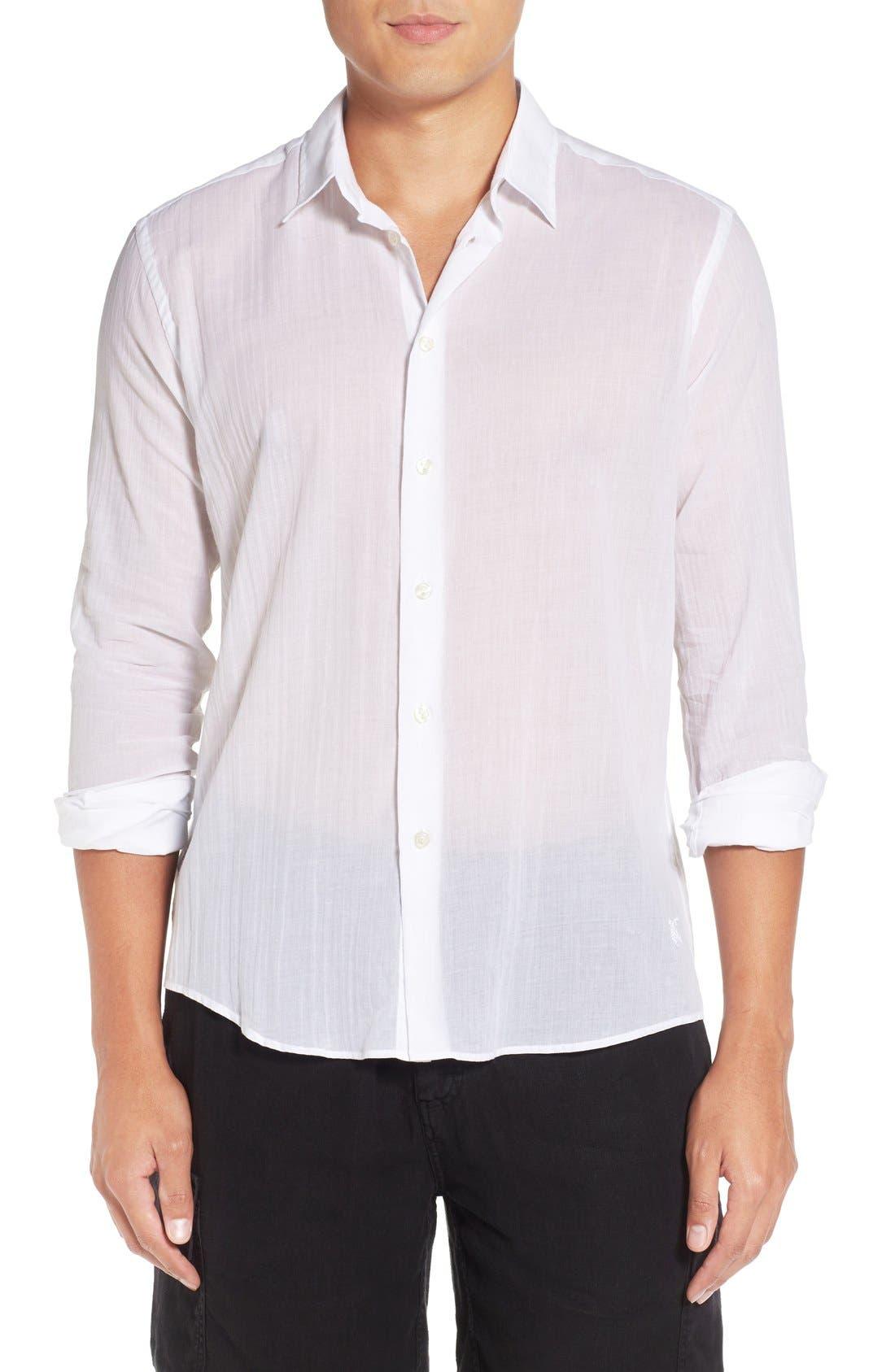 Cotton Voile Sport Shirt,                             Main thumbnail 1, color,                             White