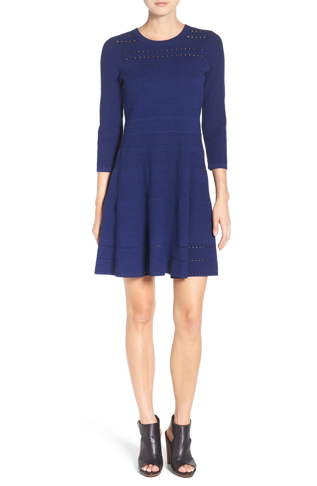 Knit Fit & Flare Dress,                             Alternate thumbnail 2, color,                             Navy