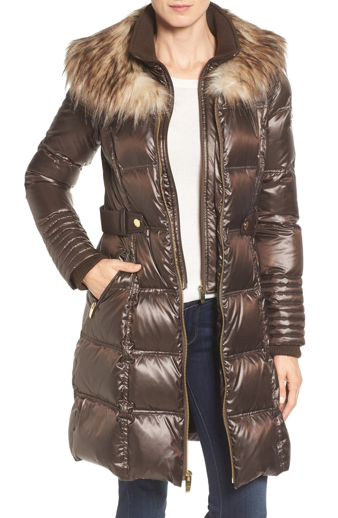 Quilted Coat with Faux Fur Trim,                             Main thumbnail 1, color,                             Brown