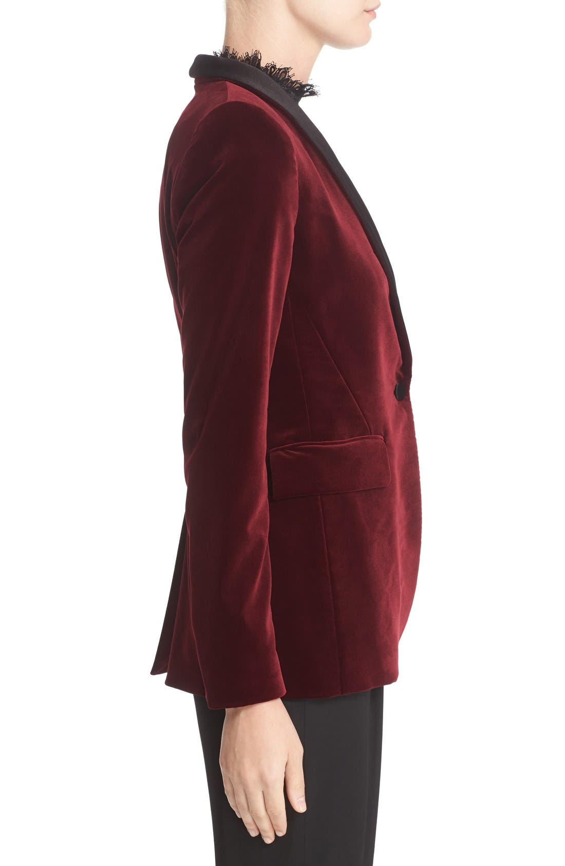 'Macey' Satin Lapel Velvet One-Button Blazer,                             Alternate thumbnail 4, color,                             Bordeaux/ Black