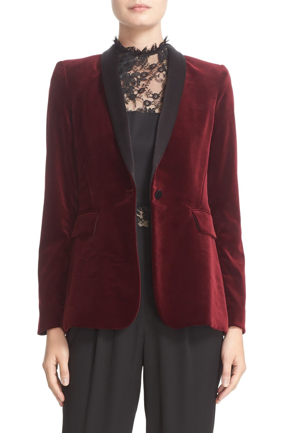 'Macey' Satin Lapel Velvet One-Button Blazer,                             Main thumbnail 1, color,                             Bordeaux/ Black