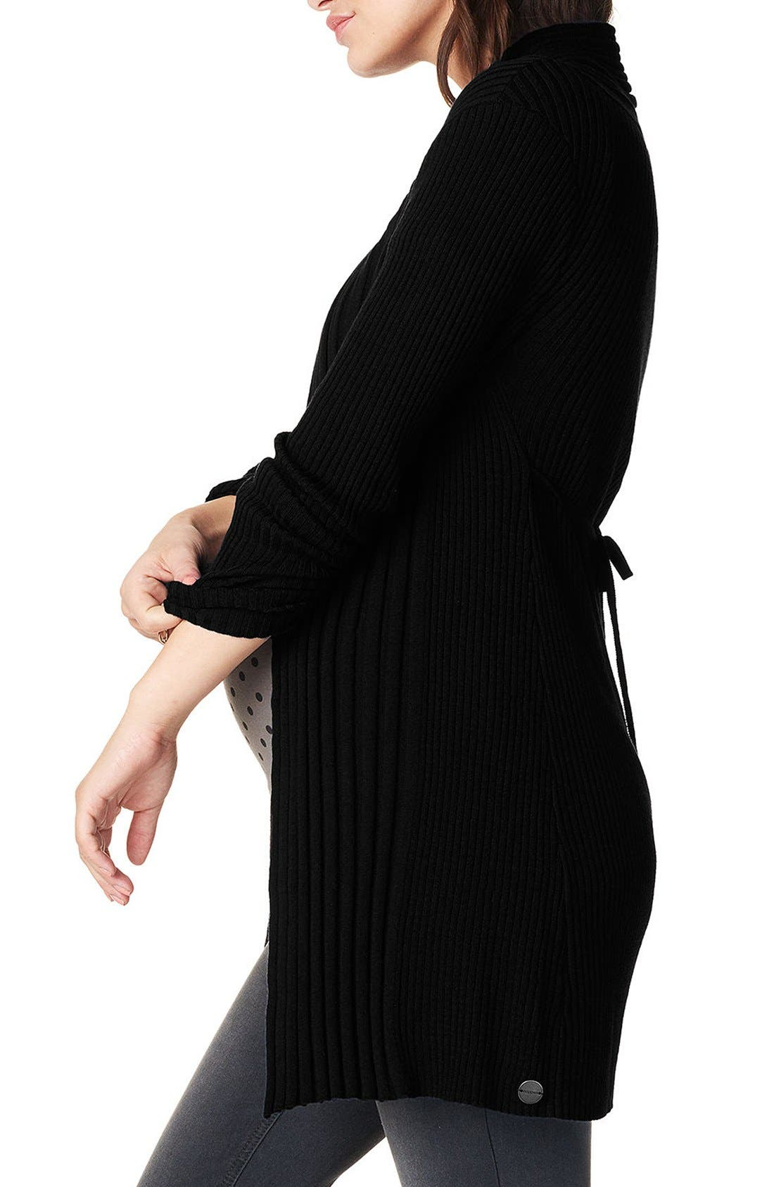 'Anne' Rib Knit Maternity Cardigan,                             Alternate thumbnail 4, color,                             Black