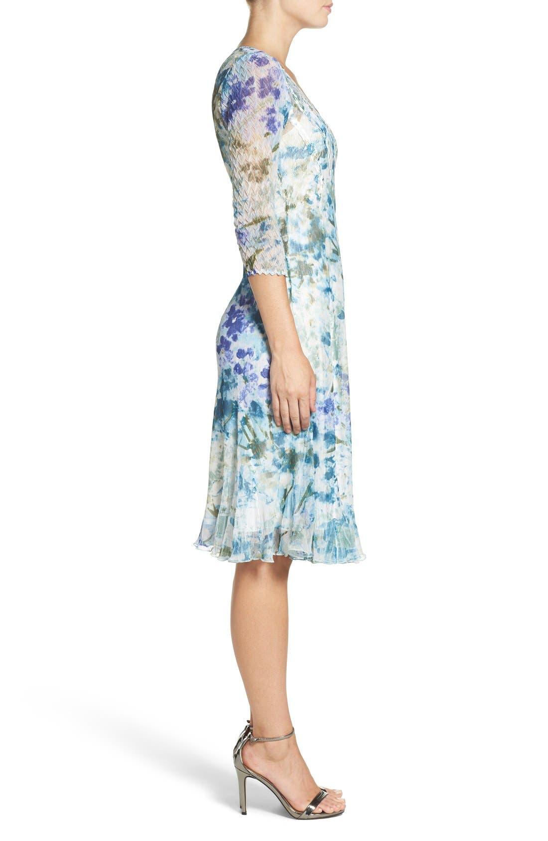 Chiffon A-Line Dress,                             Alternate thumbnail 3, color,                             Monet Dream