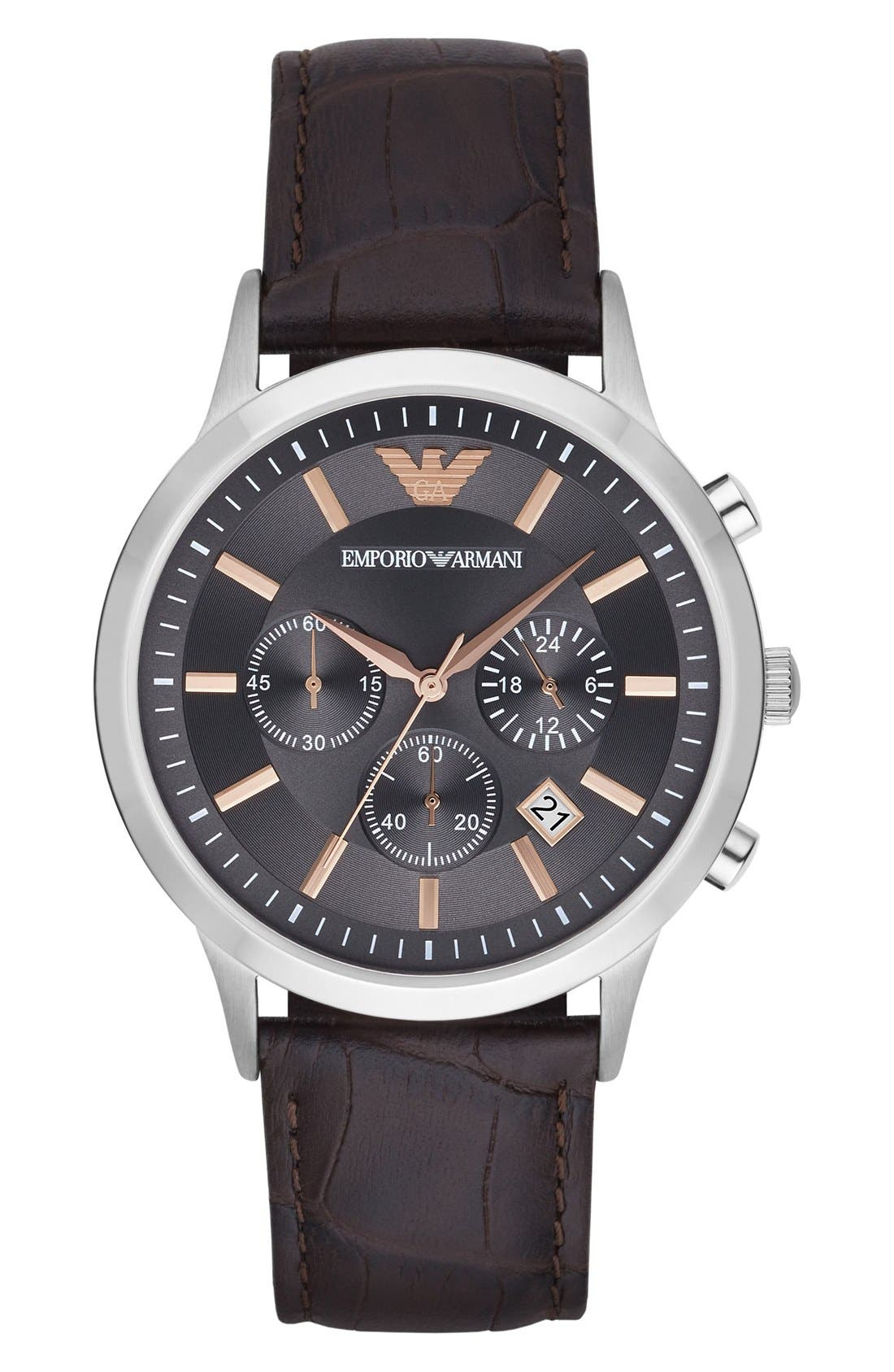 Main Image - Emporio Armani Chronograph Leather Strap Watch, 43mm