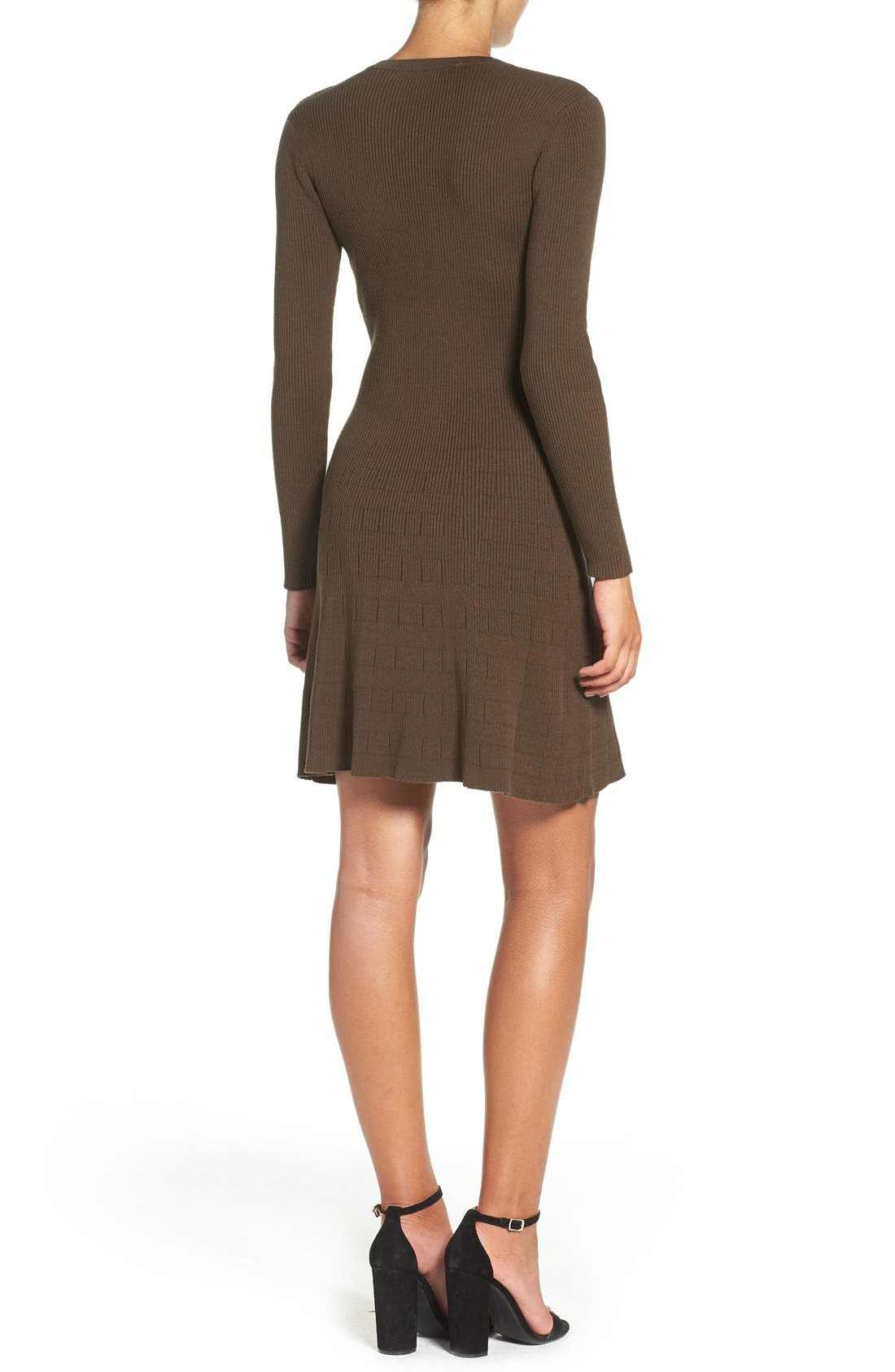 Lace-Up Ribbed A-Line Dress,                             Alternate thumbnail 2, color,                             Olive