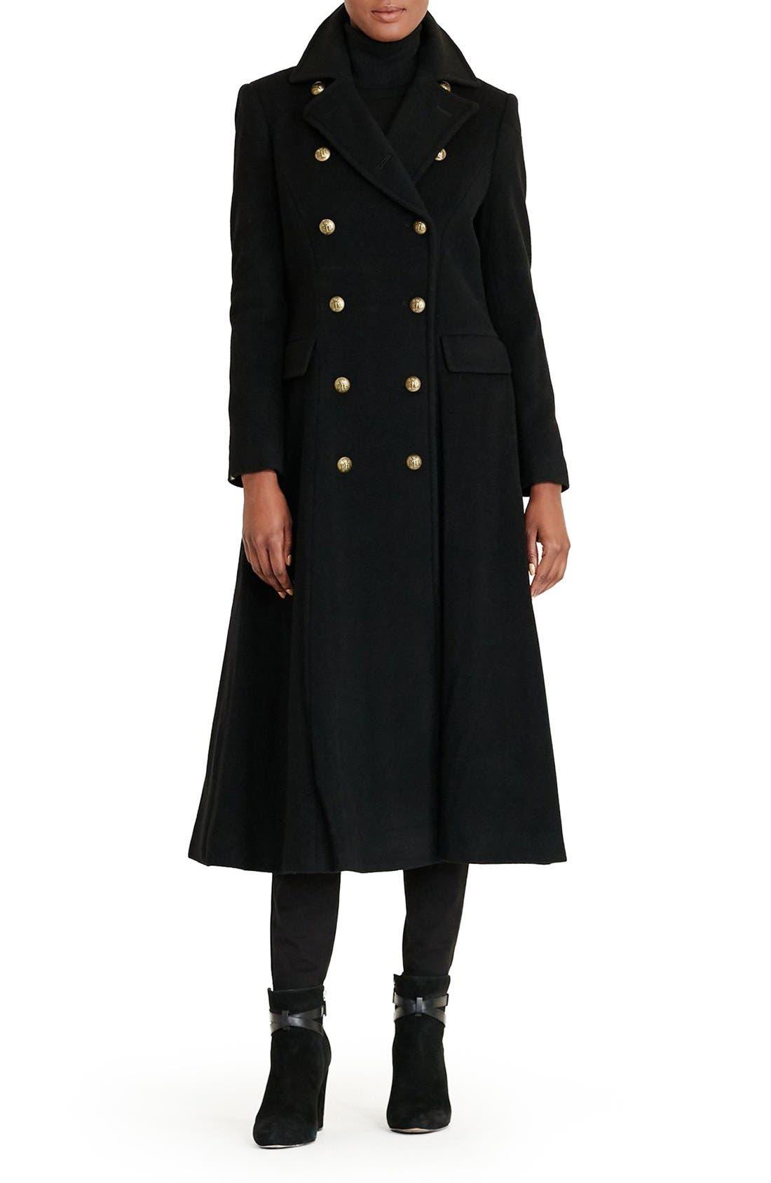 Main Image - Lauren Ralph Lauren Double Breasted Military Maxi Coat