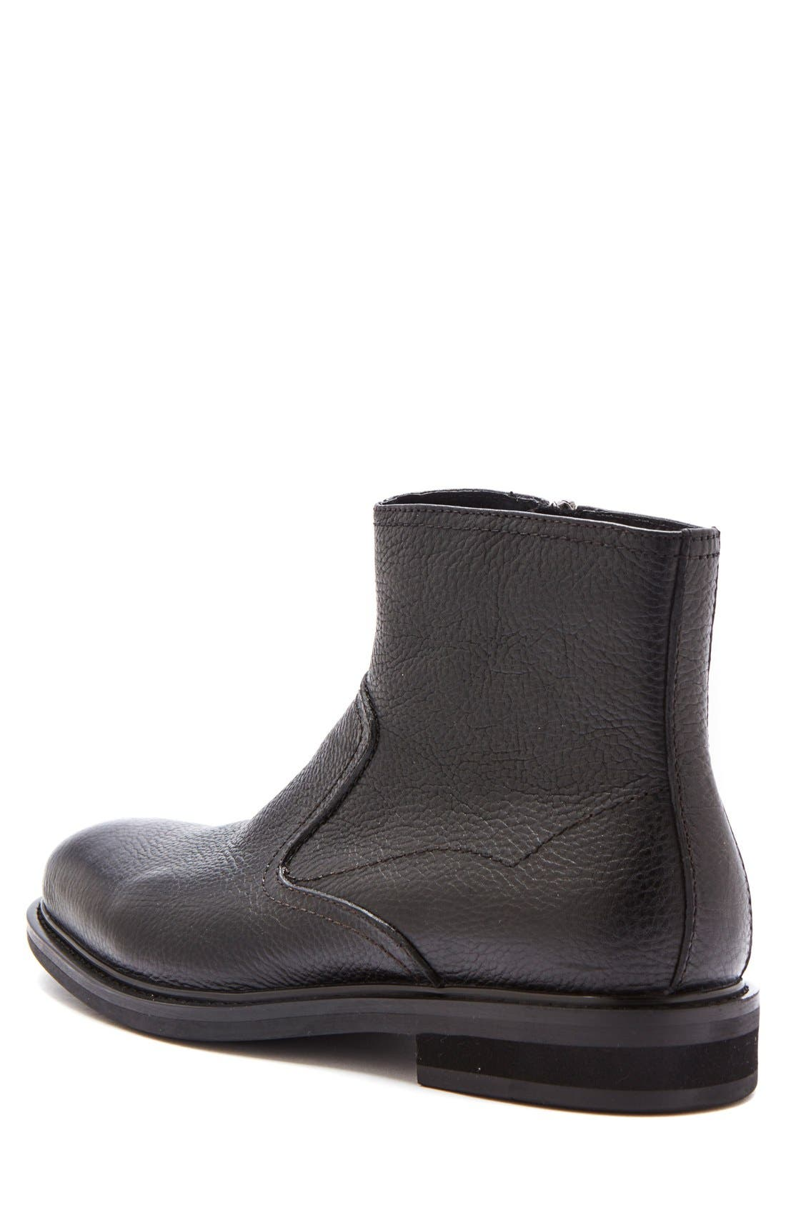 'Fried' Waterproof Zip Boot,                             Alternate thumbnail 2, color,                             Black Leather