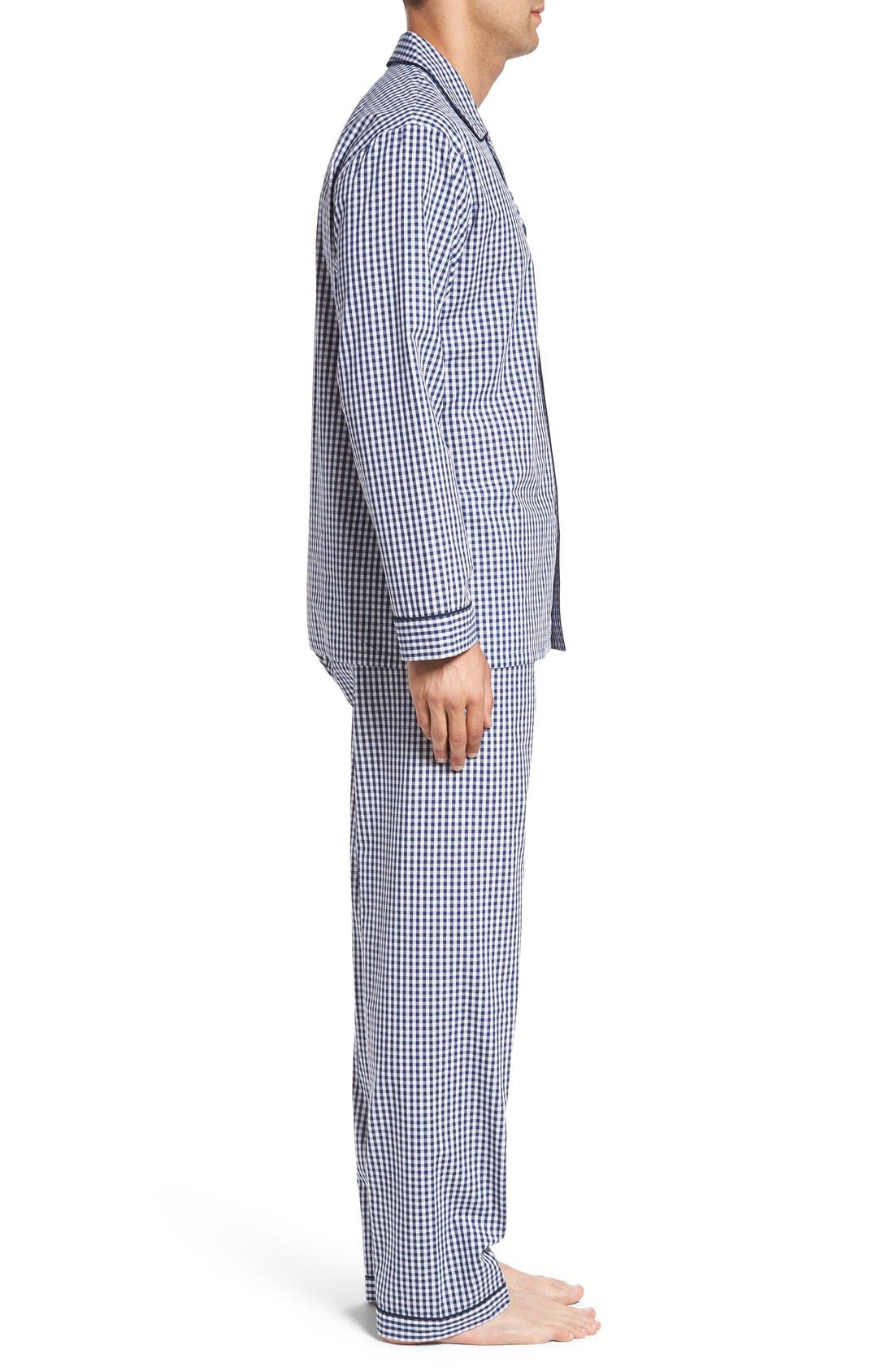 'Hot & Cold' Pajamas,                             Alternate thumbnail 3, color,                             Blue Gingham