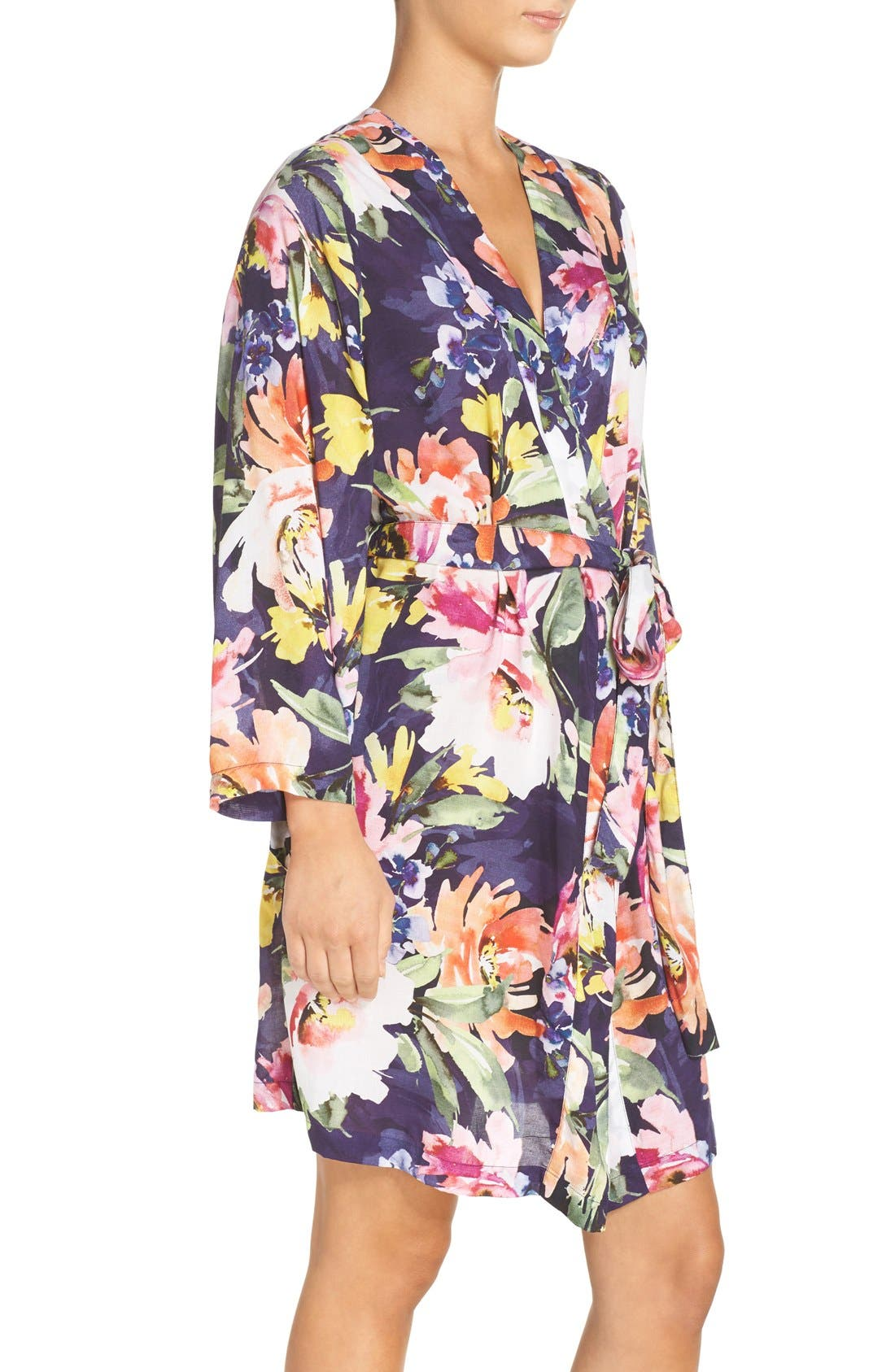 Floral Print Kimono Robe,                             Alternate thumbnail 3, color,                             Zephyr