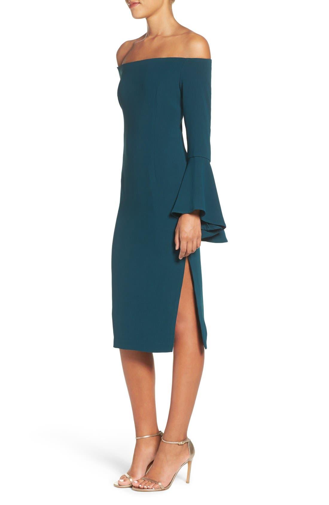 'Solange' Off the Shoulder Midi Dress,                             Alternate thumbnail 3, color,                             Teal
