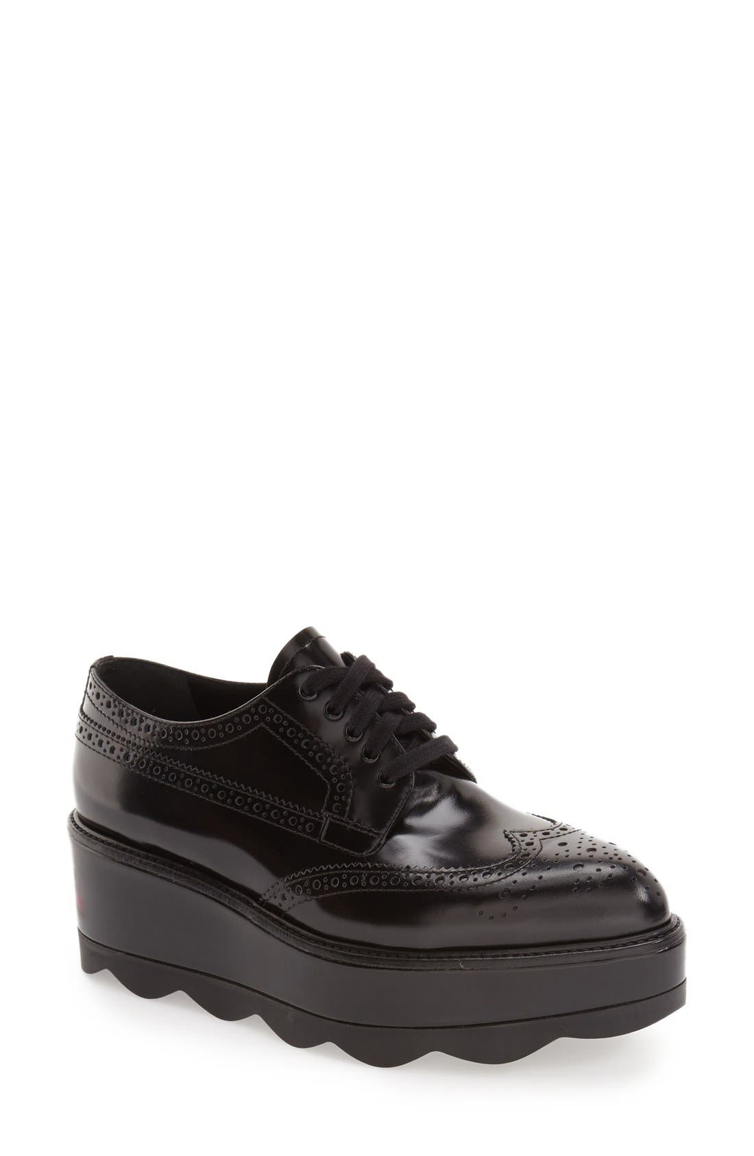 Scalloped Platform Oxford,                         Main,                         color, Black