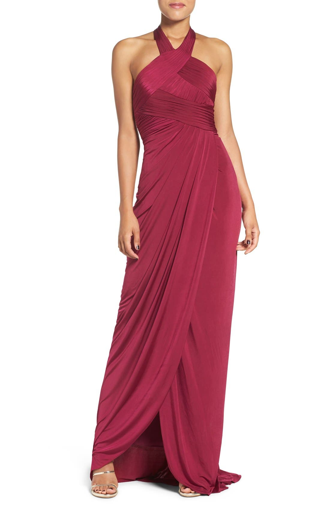 Alternate Image 1 Selected - Adrianna Papell Jersey Halter Dress (Regular & Petite)