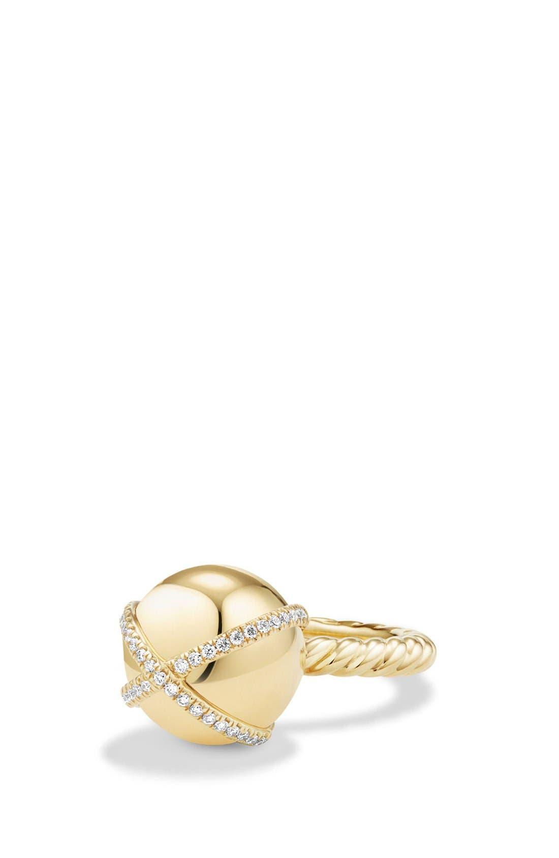 David Yurman 'Solari' Wrap Ring with Pavé Diamonds in 18k Gold