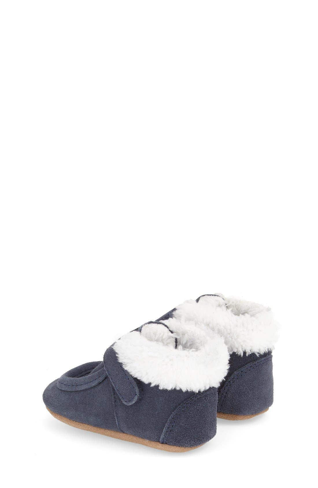 'Sawyer Snuggle' Crib Shoe,                             Alternate thumbnail 2, color,                             Navy Leather