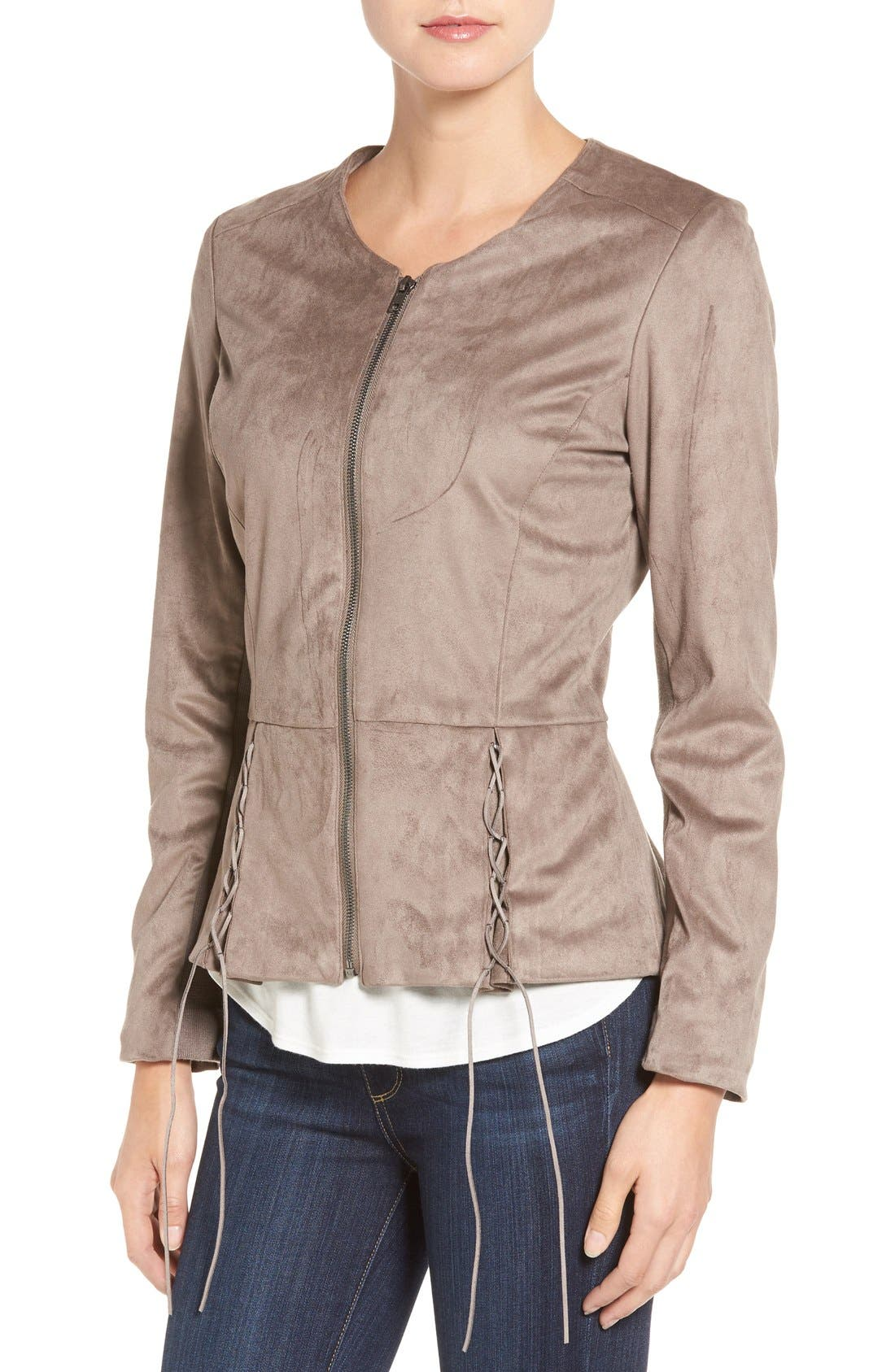 Lace-Up Peplum Faux Suede Jacket,                             Alternate thumbnail 4, color,                             Buff