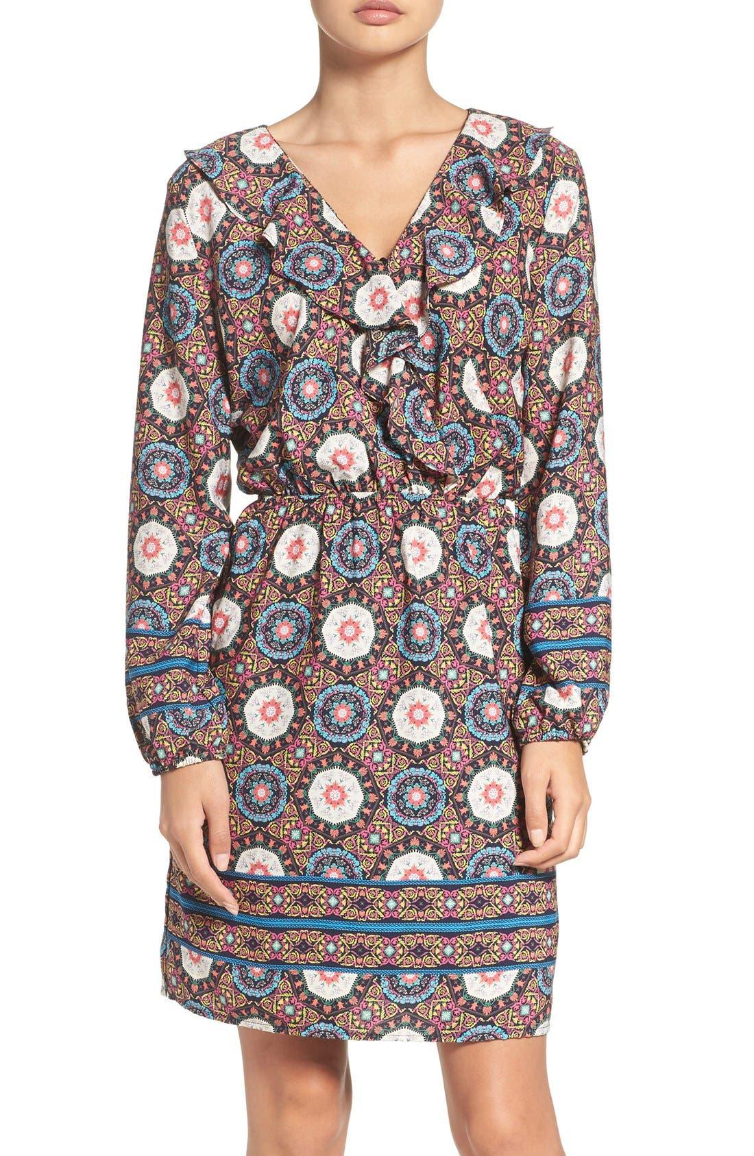 'Nadia' Ruffle Blouson Dress,                         Main,                         color, Nadia Blue
