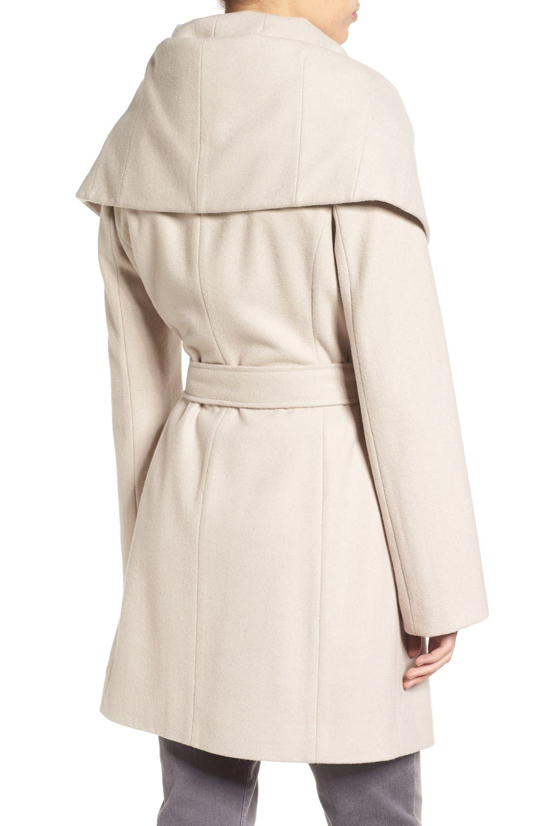 Alternate Image 2  - T Tahari Wool Blend Belted Wrap Coat
