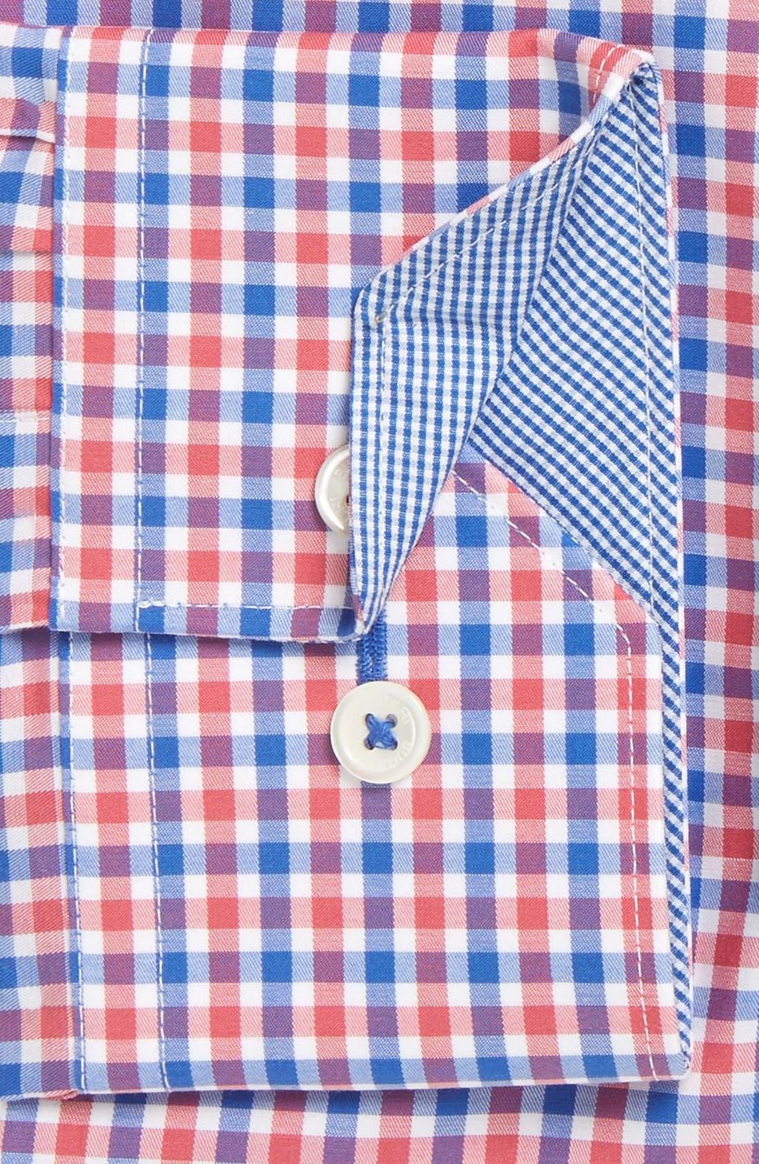 Trim Fit Check Dress Shirt,                             Alternate thumbnail 2, color,                             Coral
