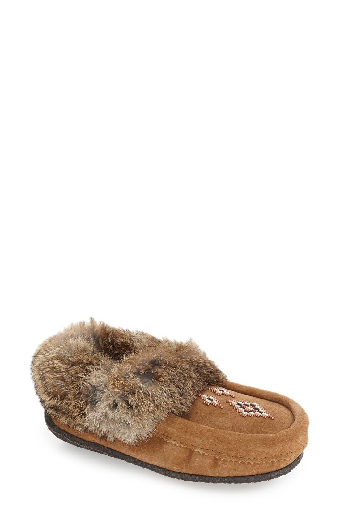 Genuine Shearling and Rabbit Fur Mukluk Slipper,                             Main thumbnail 1, color,                             Oak Rabbit Fur Suede