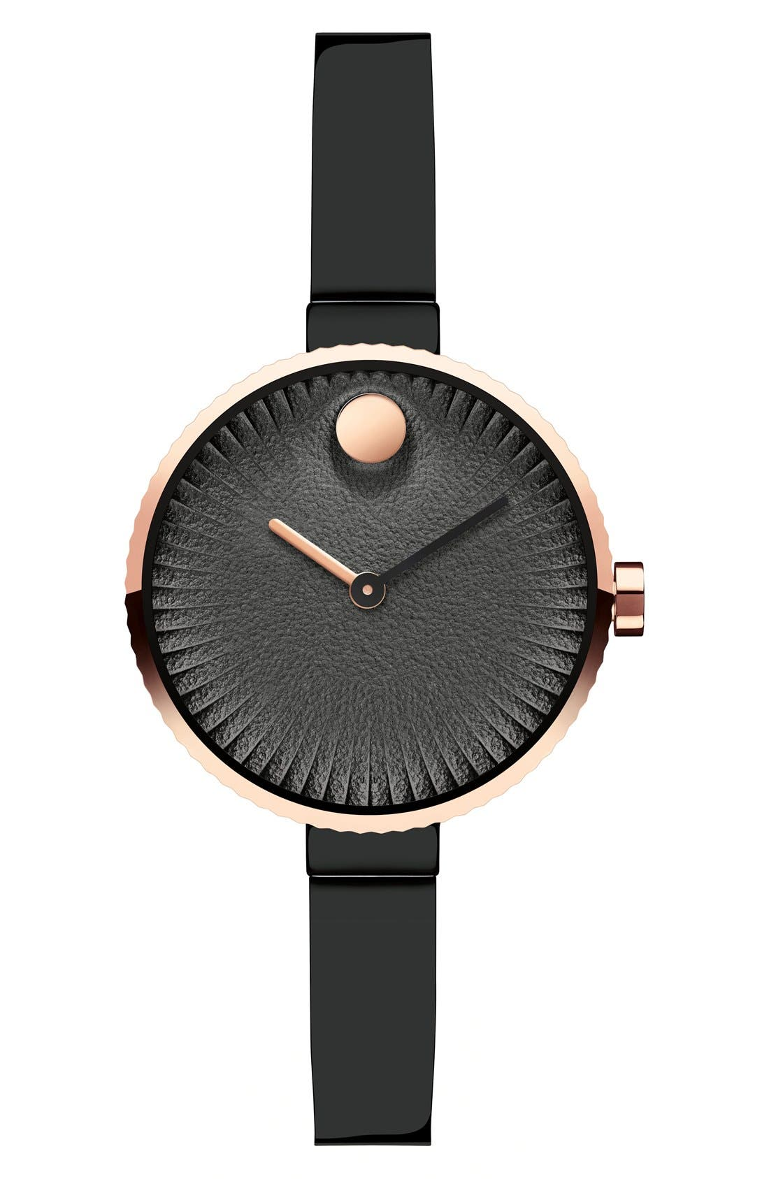 'Edge' Bracelet Watch, 28mm,                         Main,                         color, Black/ Copper
