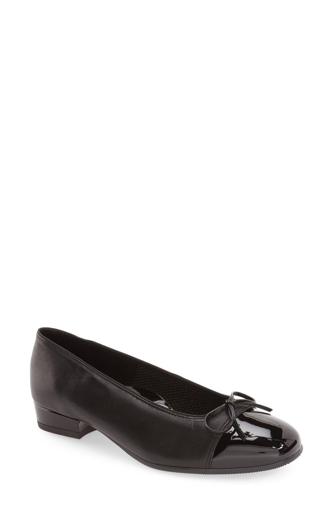 'Bel' Cap Toe Pump,                             Main thumbnail 1, color,                             Black Leather
