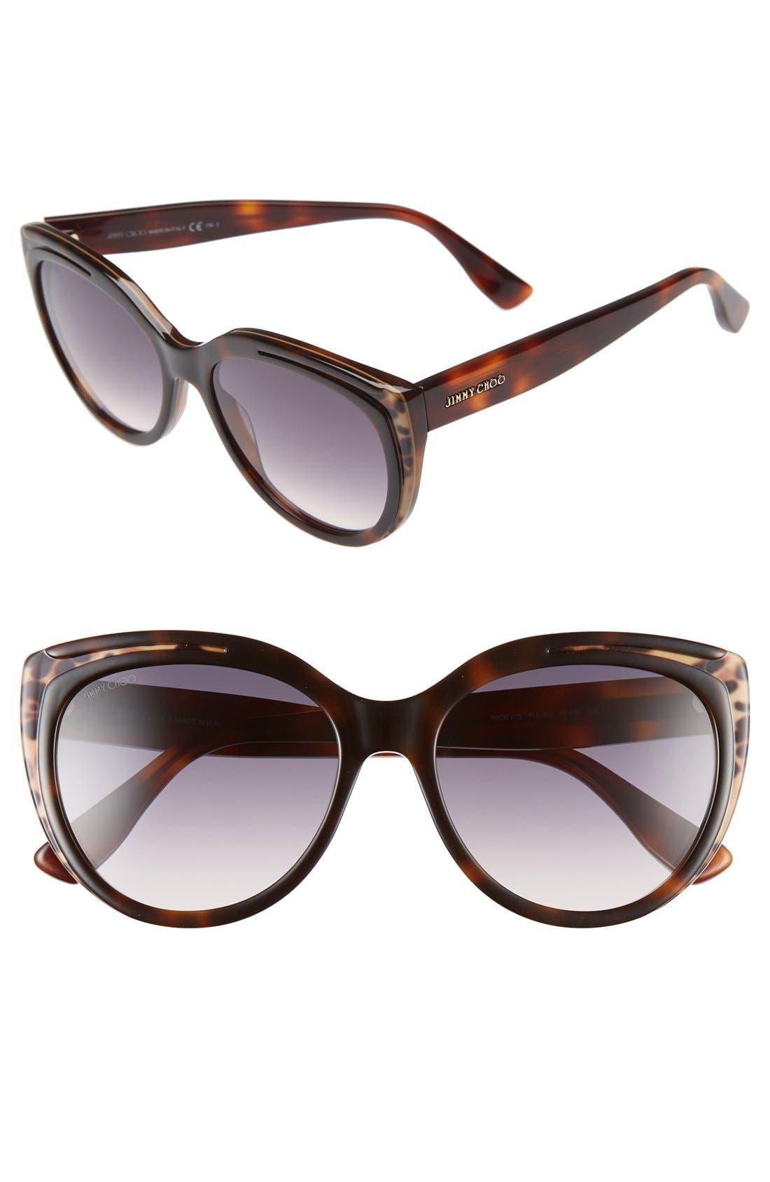 Main Image - Jimmy Choo 'Nicky' 56mm Cat Eye Sunglasses