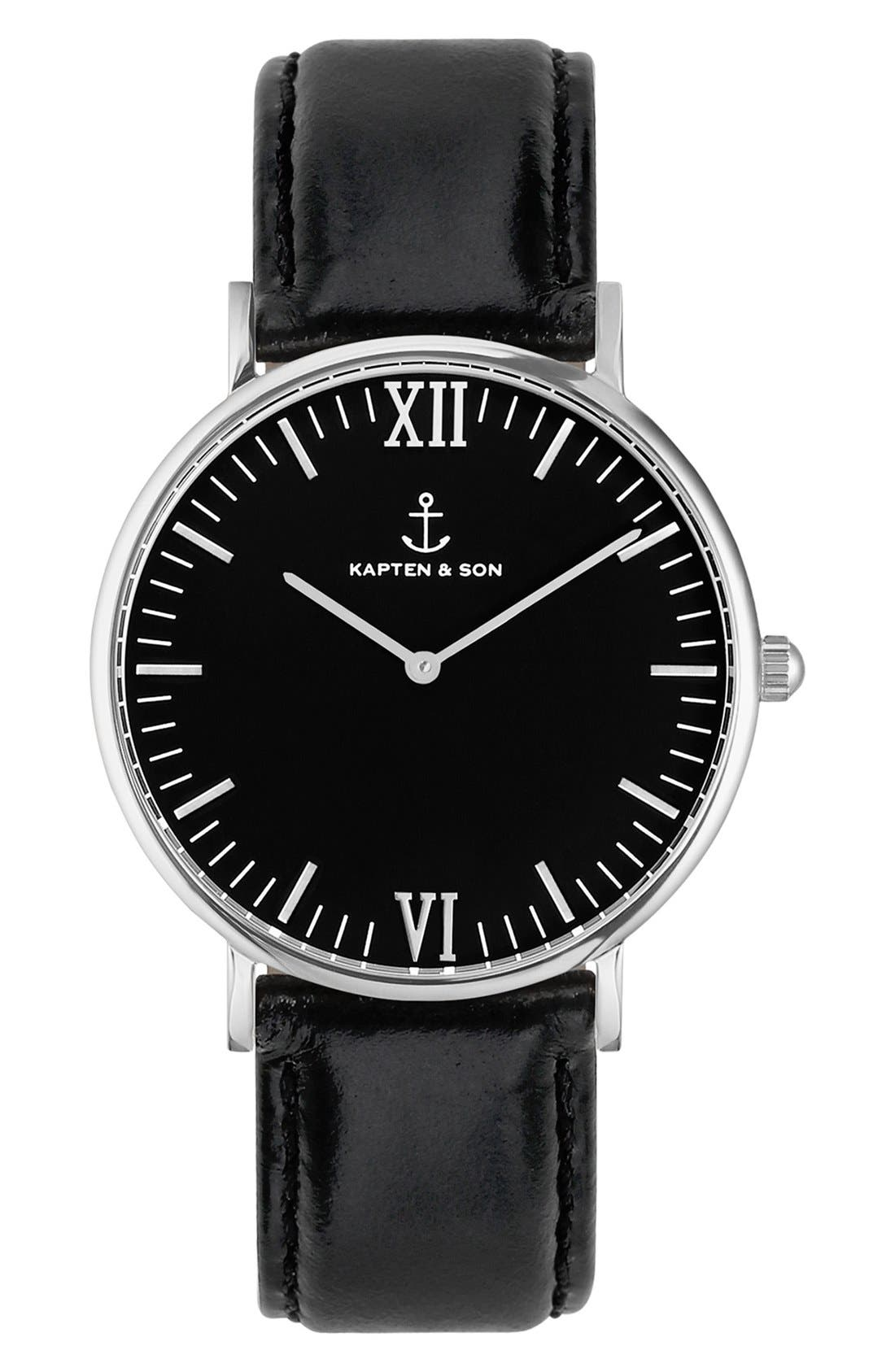 Campina Leather Strap Watch, 36mm,                         Main,                         color, Black/ Silver