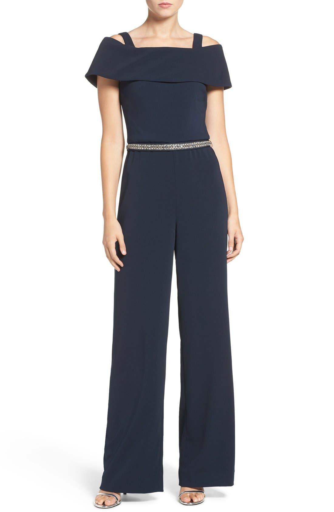 Main Image - Badgley Mischka Embellished Stretch Jumpsuit