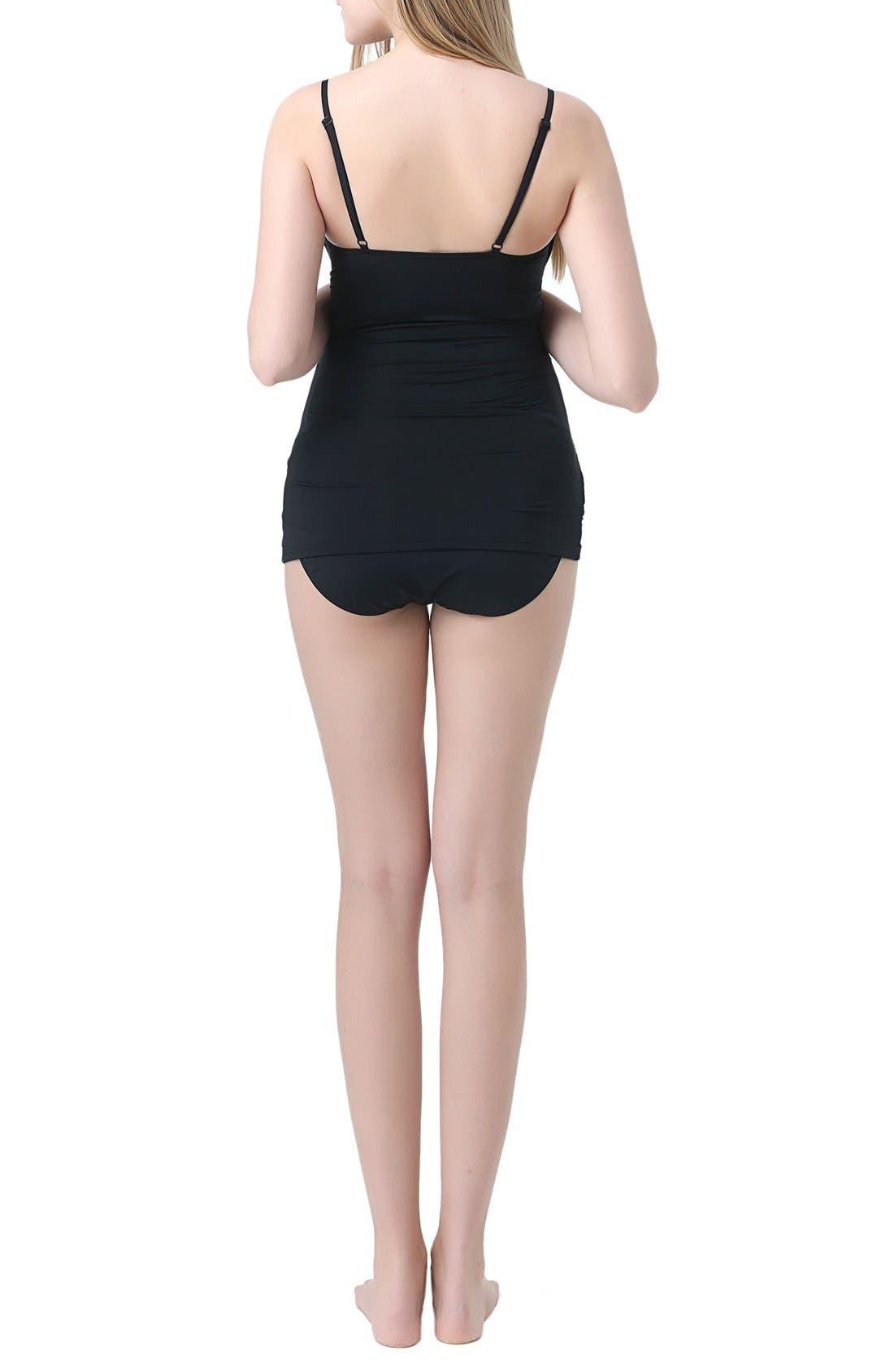 'Jessica' Maternity Two-Piece Tankini Swimsuit,                             Alternate thumbnail 2, color,                             Black