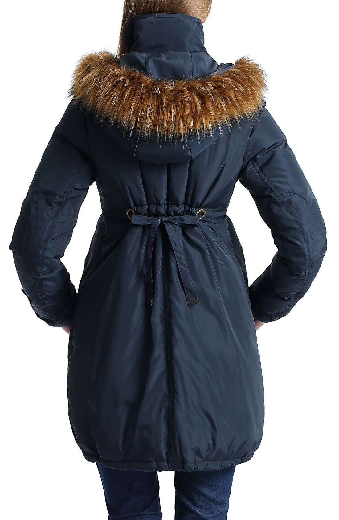 Lizzy Water Resistant Down Maternity Parka,                             Alternate thumbnail 2, color,                             Navy