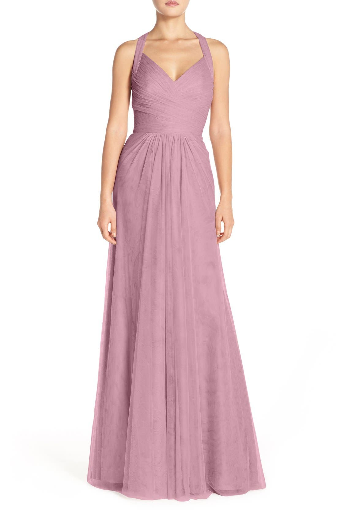 Sleeveless V-Neck Tulle Gown,                         Main,                         color, Cerise
