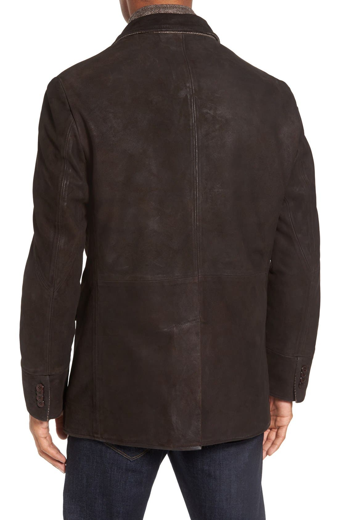 Distressed Leather Hybrid Coat,                             Alternate thumbnail 2, color,                             Chocolate Brown