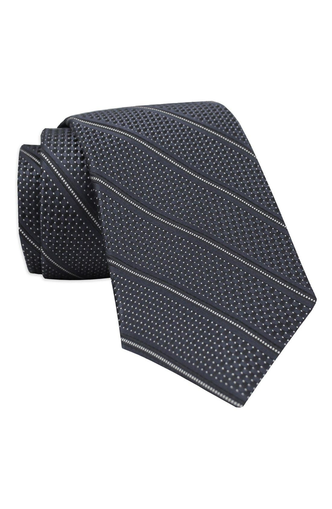 Stripe Woven Silk Tie,                             Main thumbnail 1, color,                             Charcoal